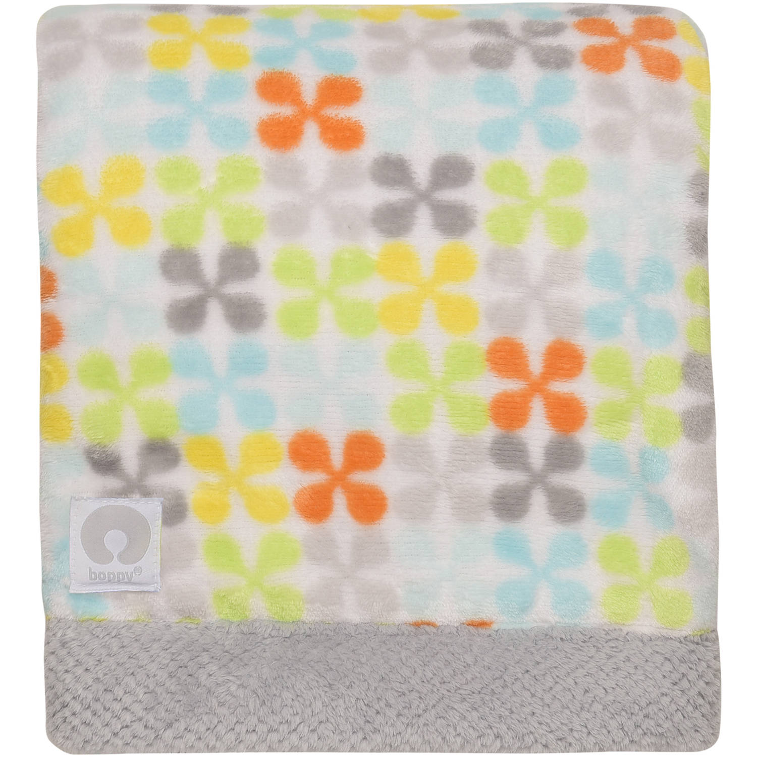 Boppy Luxurious Plush Reversible Blanket, Grey/Jacks Print