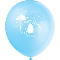 Latex Elephant Baby Shower Balloons, Blue, 12in, 8ct