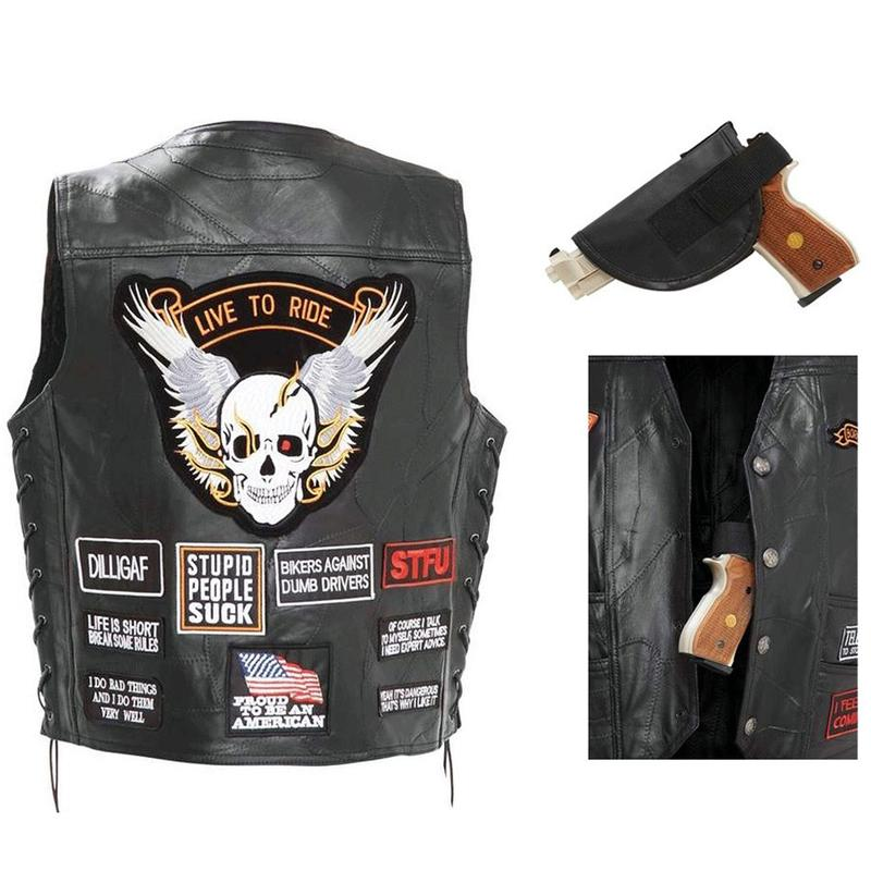 Biker Vest Concealed Carry Buffalo Leather Motorcycle CCW Skull Wings w/ 16 Patches (L)