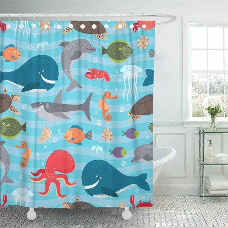 ARTJIA Blue Animal Sea Creatures Whale and Shark Dolphin and Octopus Colorful Water Turtle Marine Cartoon Shower Curtain 60x72