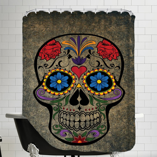 East Urban Home Floral Horror Skull Gothic Shower Curtain
