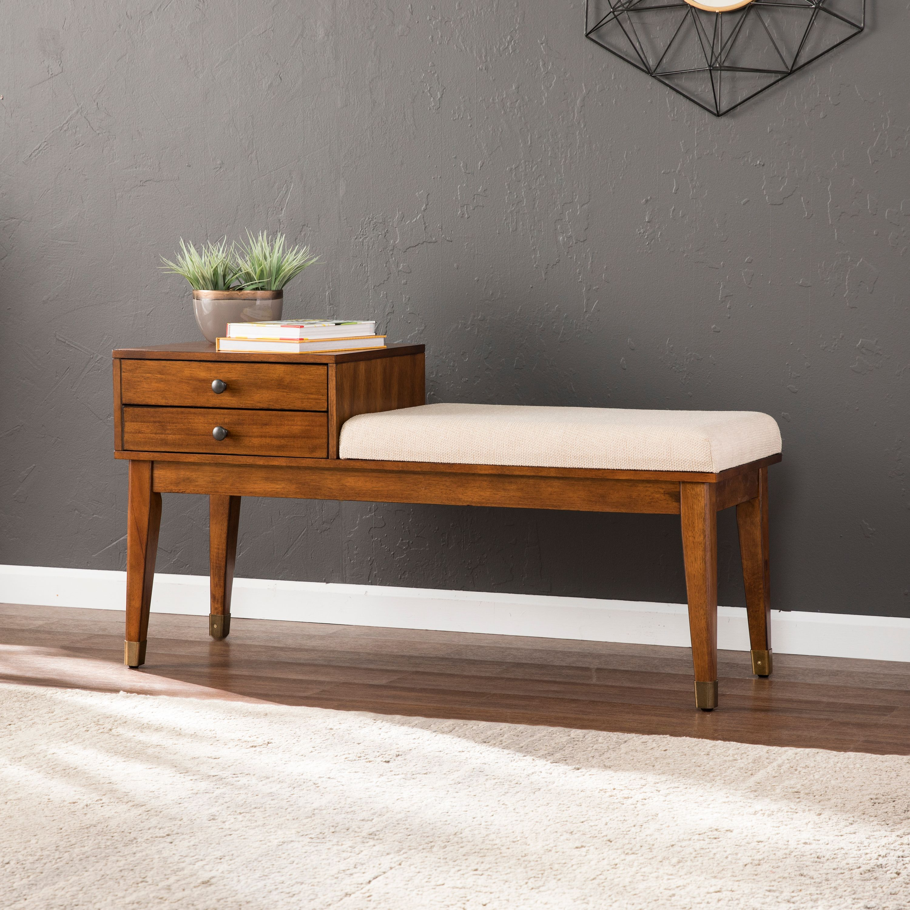 Southern Enterprises Rayonta Upholstered Storage Bench, Dark Sienna
