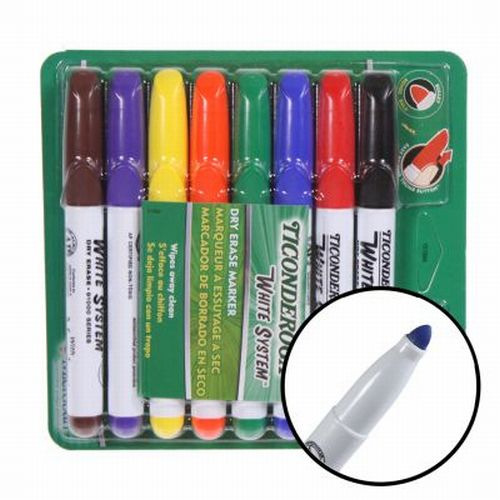 8-Pack Ticonderoga Dry Erase Color Markers Low Odor Bullet Tip Wipes Clean 91080