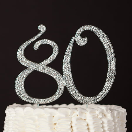 80 Cake Topper for 80th Birthday Anniversary Party Supplies & Decoration Ideas (Silver) (Going Away Decoration Ideas)