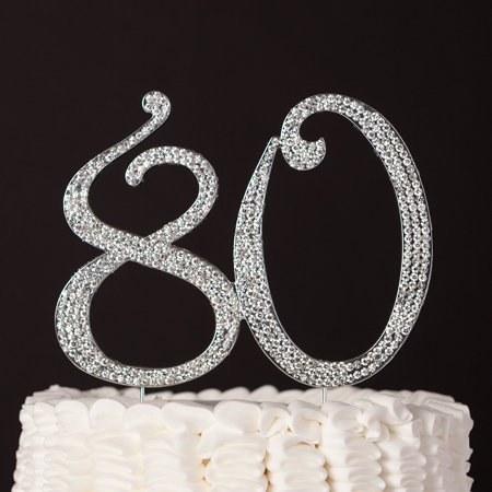 80 Cake Topper for 80th Birthday Anniversary Party Supplies & Decoration Ideas (Silver)