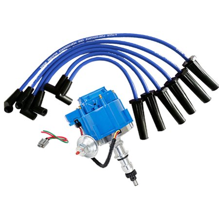 A-Team Performance HEI Distributor, Spark Plug Wires & Pigtail Ford, 240 And 300 Engines, Blue Cap F100 F150 F250