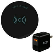 RNDs Fast Charge Wireless Charging Pad for Apple iPhone (8, 8 Plus, X, 10), Samsung Galaxy (S8, S8 Plus, S7, S6), Note 8, LG (G6, V30) and other QI Enabled Devices (QC Charger Included) (black)