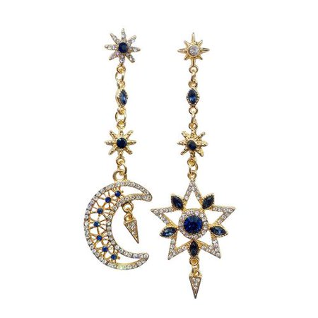Raypadula 1 pair Luxury Moon Stars Drop Earrings Rhinestone Punk Earrings for Women Jewelry Golden Boho Vintage Statement Earrings Gold Sculpted Star