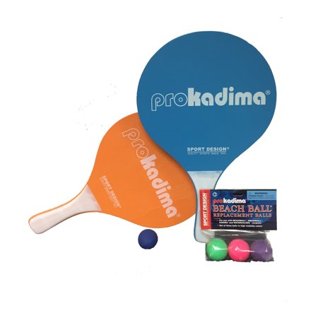 Paddle Set - Pro Kadima Paddle Raquet Ball Set - Solid Colors - Bundle Pack (4 Balls Included)