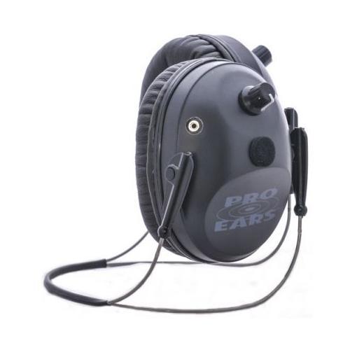 Pro-Ears Pro Tac Plus Gold Low Profile NRR 26 Earmuffs, Black, Behind Head w/ Li