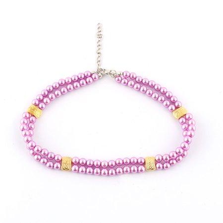 Plastic Purple Necklace - Plastic Beads Metal Chain Clasp Dual Rows Dog Decoration Pet Necklace Purple