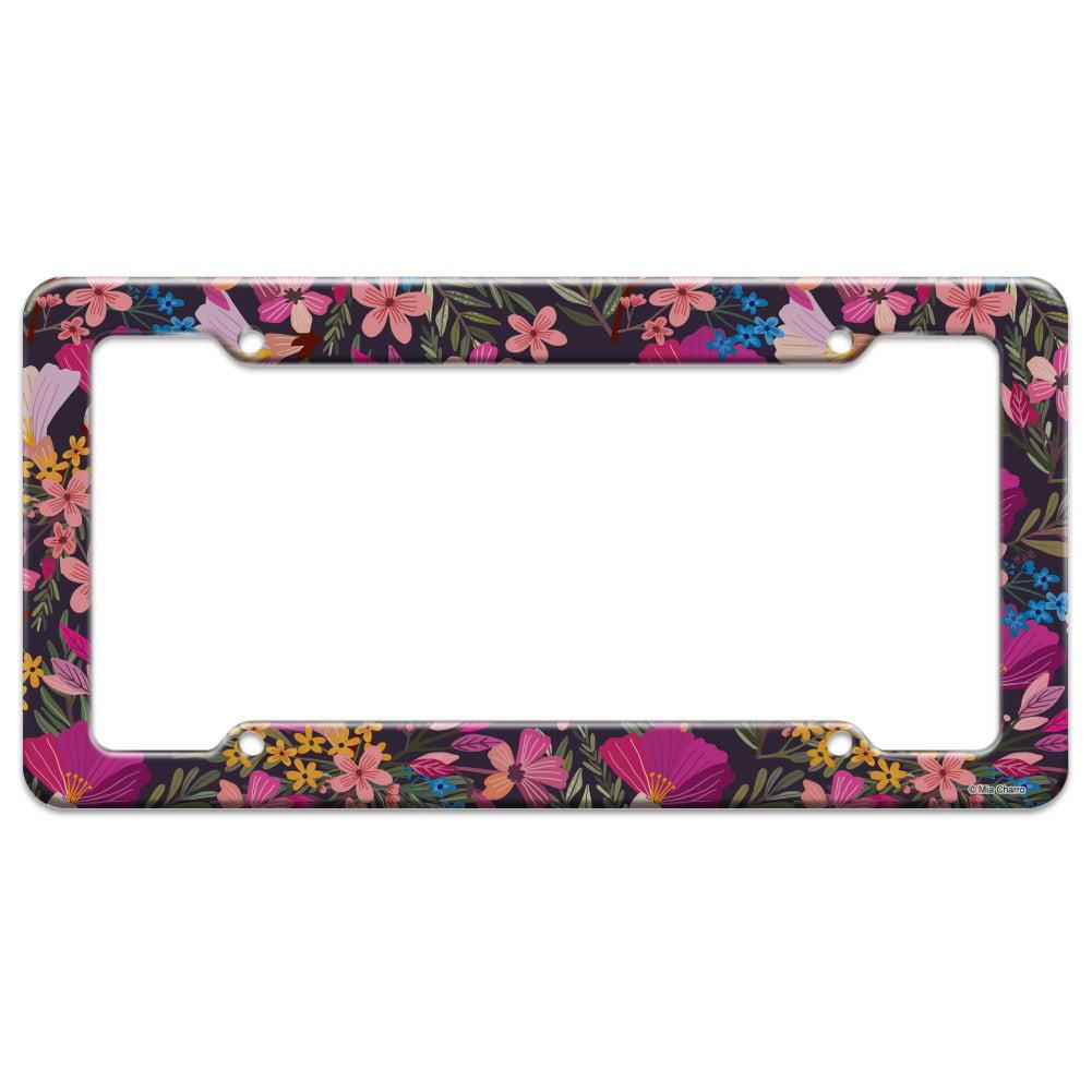 Haruna Floral Pattern License Plate Tag Frame