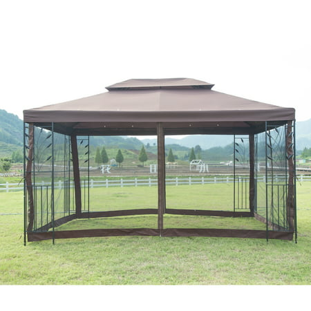 10'x10' Outdoor Steel Vented Gazebo with Mosquito Netting - Brown N34