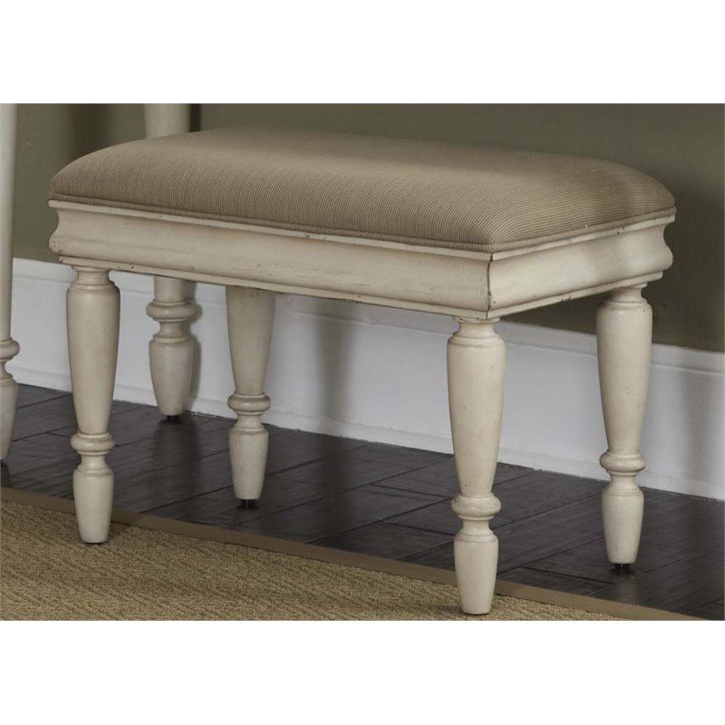 Liberty Furniture Rustic Traditions II Vanity Bench in Rustic White