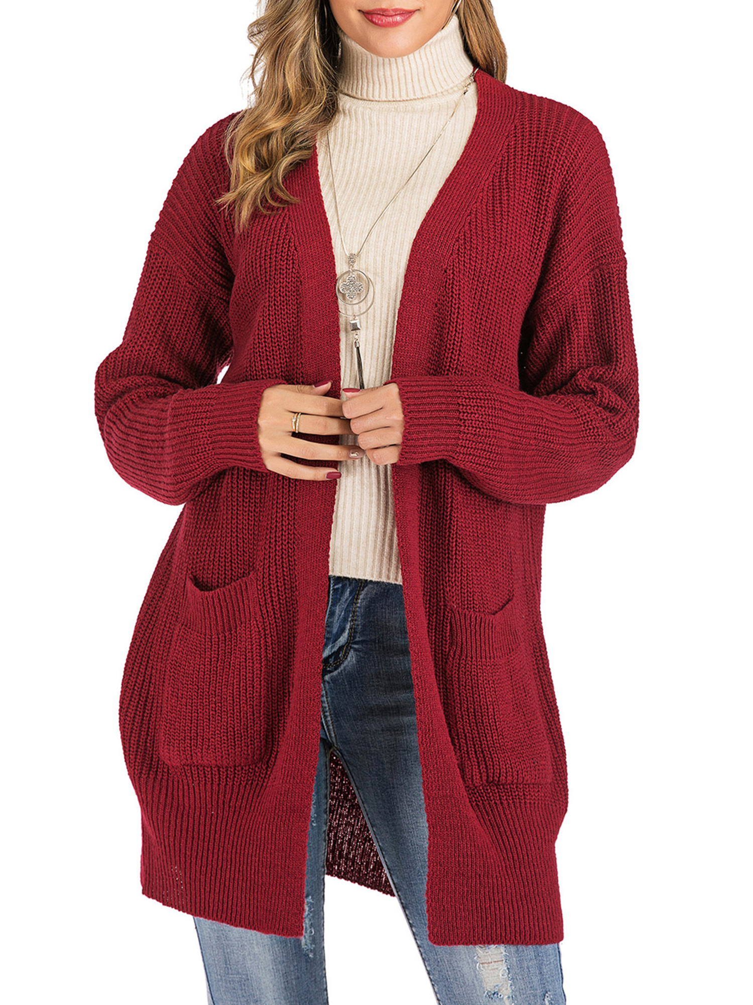 SAYFUT Winter Women Knit Open Front Baggy Cardigan Coat Tops Chunky Knitted Sweater Long Sleeve Plus Size Duster Cardigan,Red
