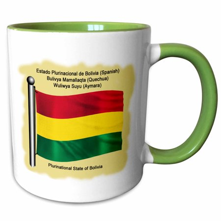 3dRose Bolivian flag waving on flagpole on a yellow background. Bolivia in four national languages - Two Tone Green Mug, 11-ounce