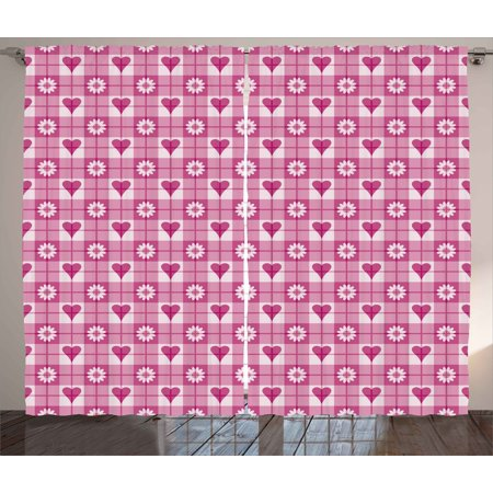 Abstract Curtains 2 Panels Set, Hearts Flower Petals on Square Lined ...