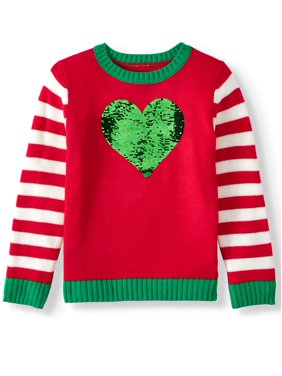 Holiday Time Girls Christmas Sweater Heart