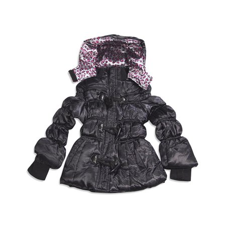 Velvet Chic - Little Girls Winter Puffer Jacket BLACK / 5/6