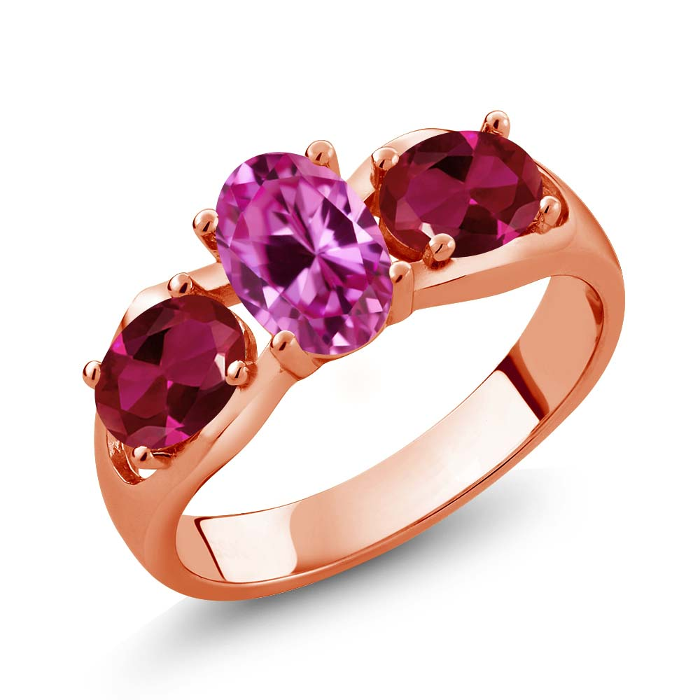 1.90 Ct Oval Pink Created Sapphire Red Created Ruby 18K Rose Gold Ring by