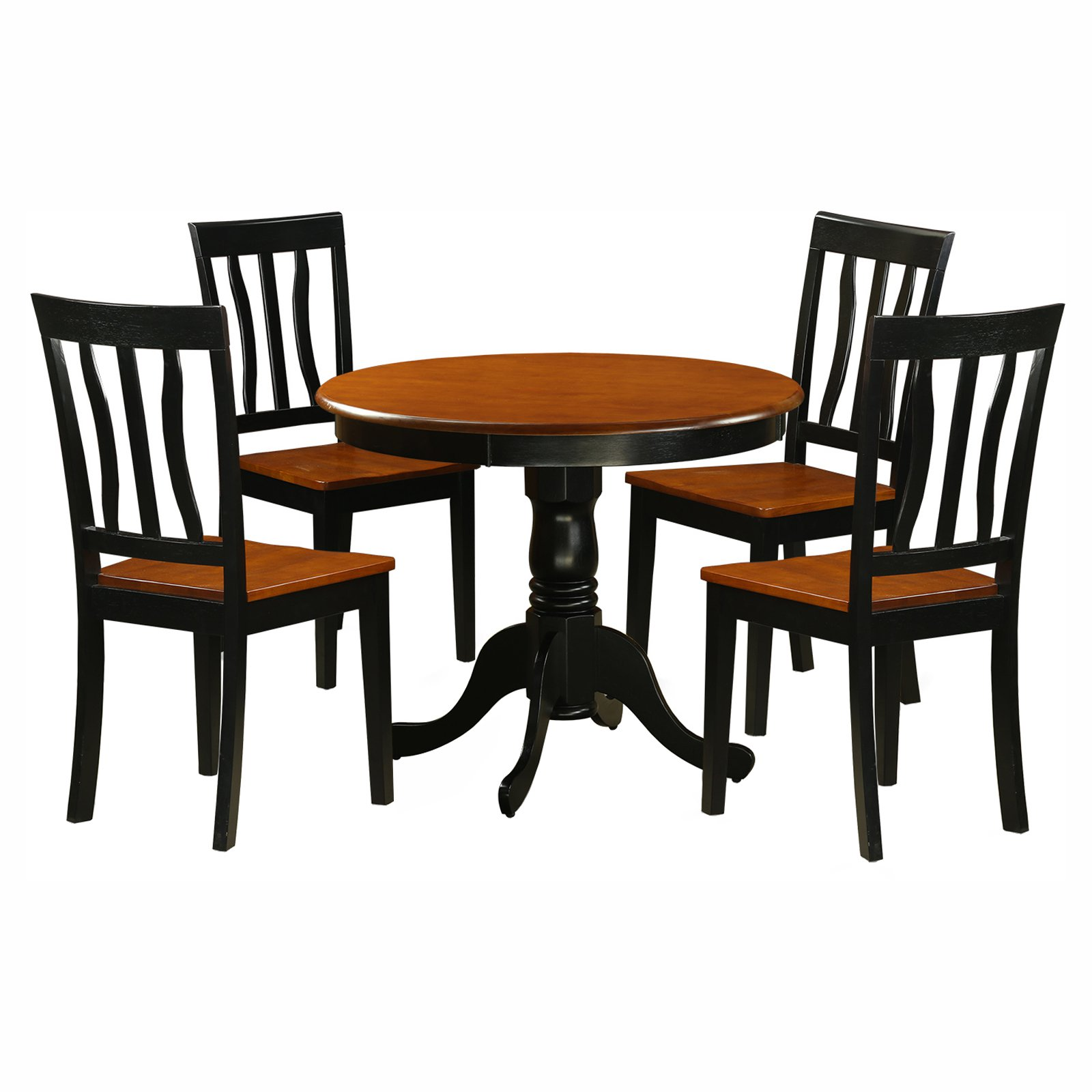East West Furniture Antique 5 Piece Pedestal Round Dining Table Set With  Wooden Seat