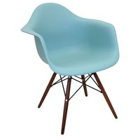 Neo Flair Mid-Century Modern Chair in Sea Green and Espresso by LumiSource - Set of 2