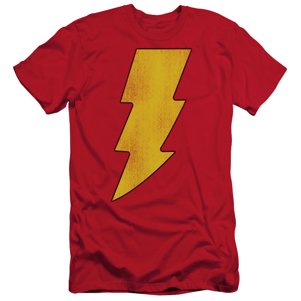 DC Comics Captain Marvel Shazam Logo Distressed Adult Slim T-Shirt Tee