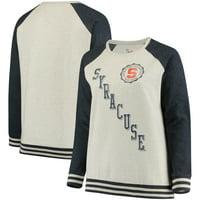 Syracuse Orange Pressbox Women's Plus Size Sundown Vintage Pullover Hoodie - Cream/Navy