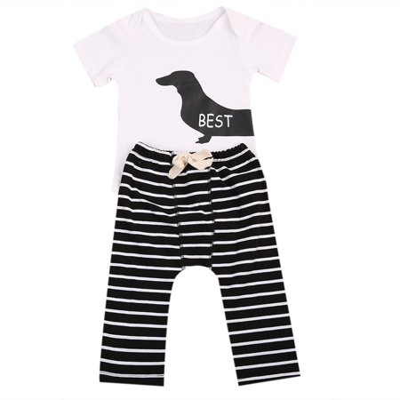 One opening 2Pcs Infant Twins Baby Girl Boy Best Friends Short Sleeve Romper+Striped Pants Outfit (Best Friend Outfit Goals)