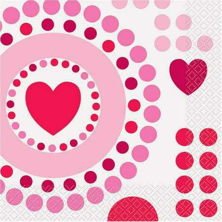 Radiant Hearts Valentine Luncheon Napkins, 16ct for $<!---->