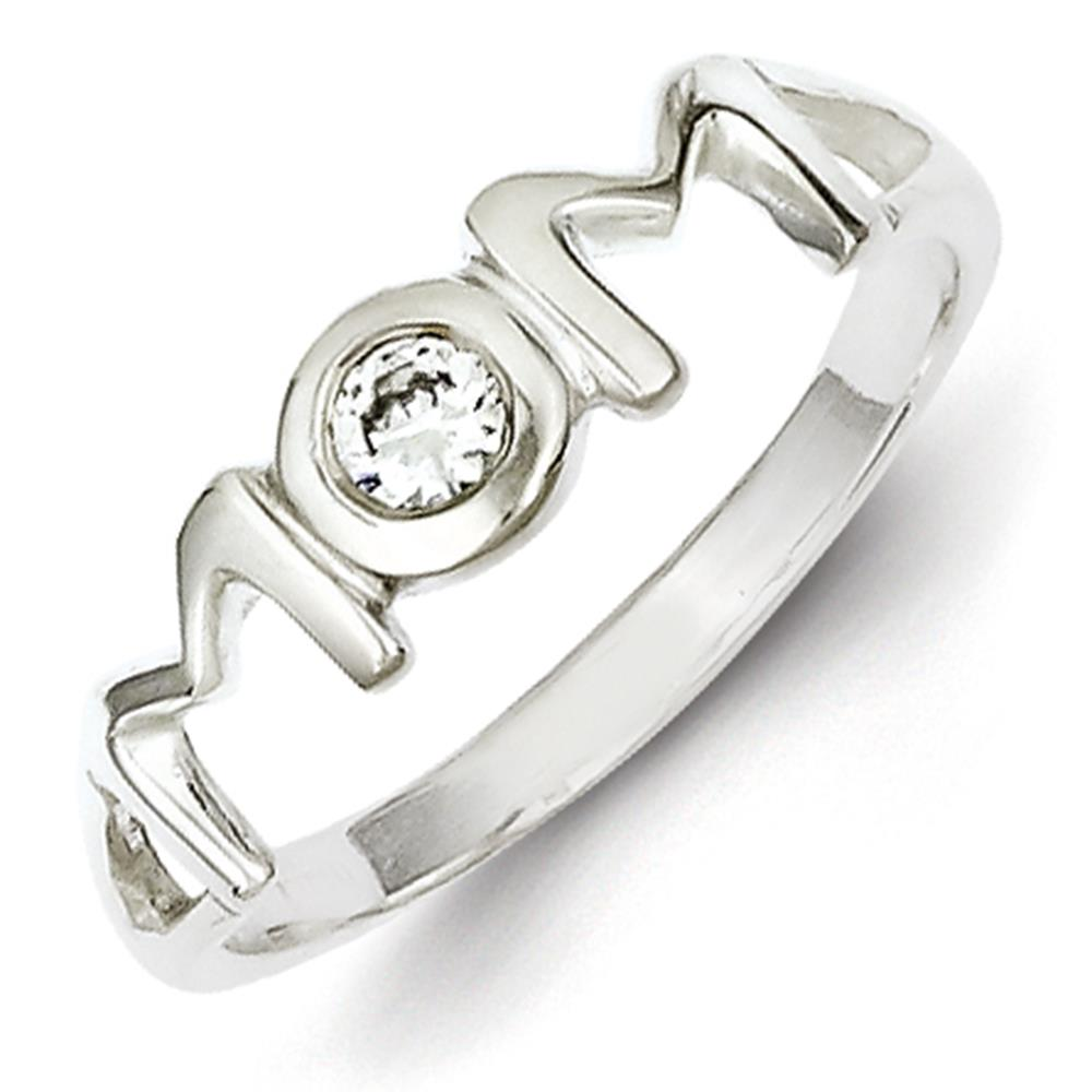 925 Sterling Silver Polished Round CZ Mom Ring Size 8