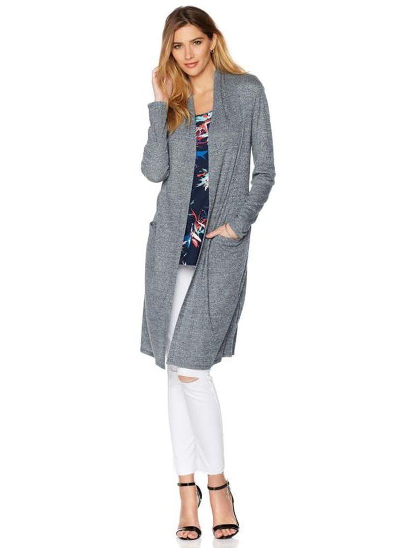 G Giuliana Rib Knit Boyfriend Long Cardigan Stretch Knit Ivory L NEW 522-292
