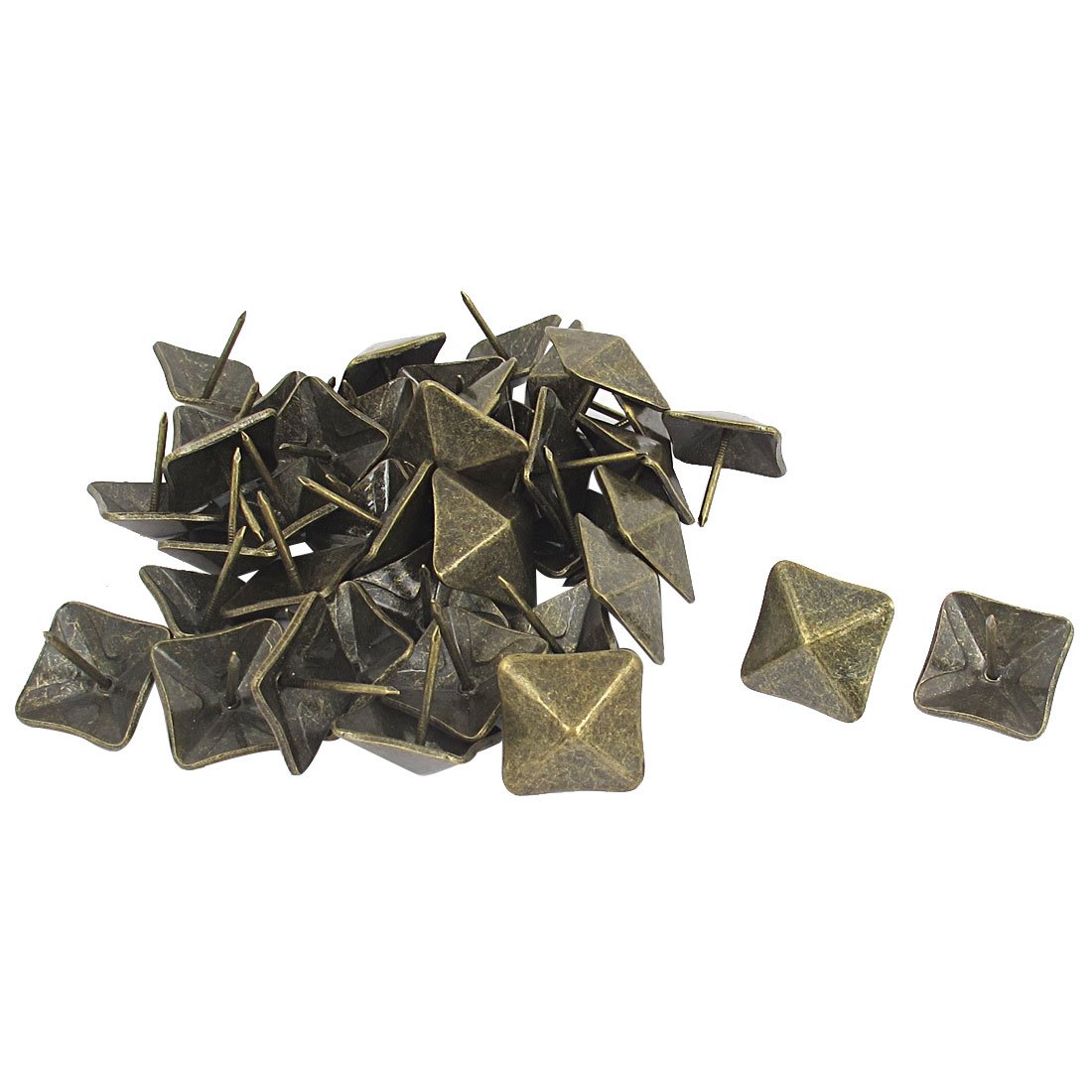 40 Pcs Antique Square Shaped Board Map Push Pins Thumbtacks w Steel Point Bronze Tone