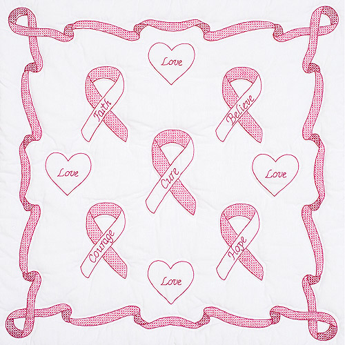 "Stamped White Wall Or Lap Quilt 36"" x 36"", Ribbon"