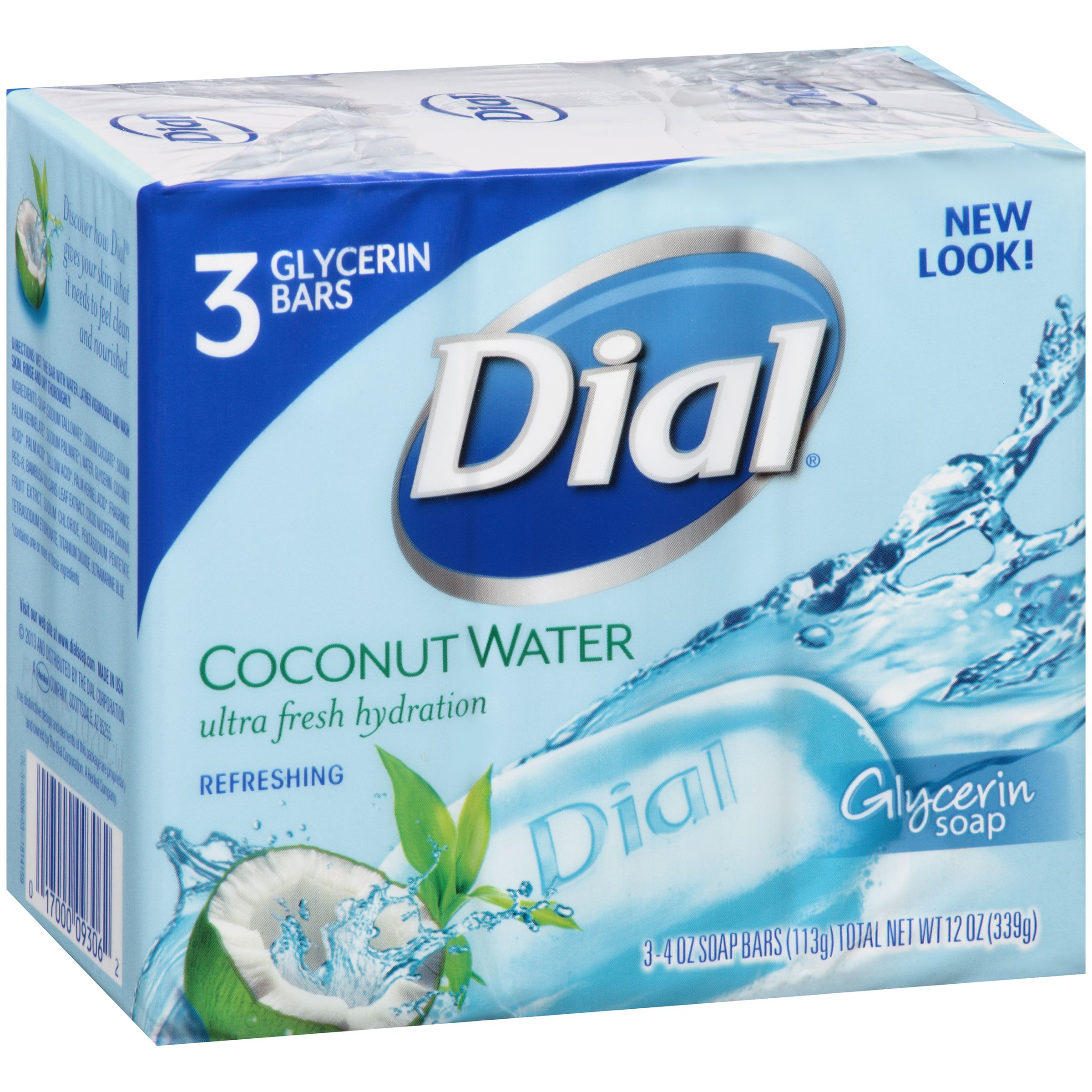 Dial Glycerin Bar Soap, Coconut Water, 4 Ounce Bars, 3 Count ...