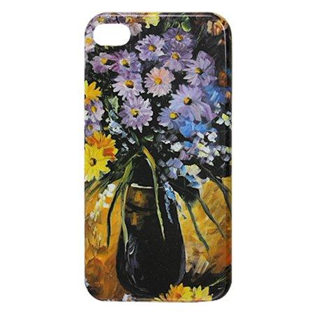 Unique Bargains IMD Vase Flowers Hard Plastic Back Case Protector for iPhone 4 4G 4S
