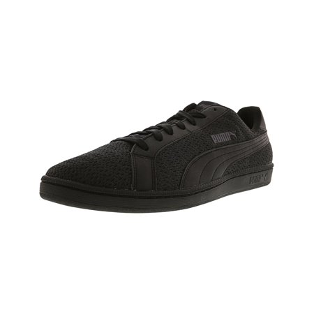 Puma Men's Smash Knit C Black Ankle-High Fabric Fashion Sneaker - - Puma Black Sneakers