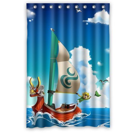 DEYOU The Legend Of Zelda Wind Waker Ship Shower Curtain Polyester Fabric Bathroom