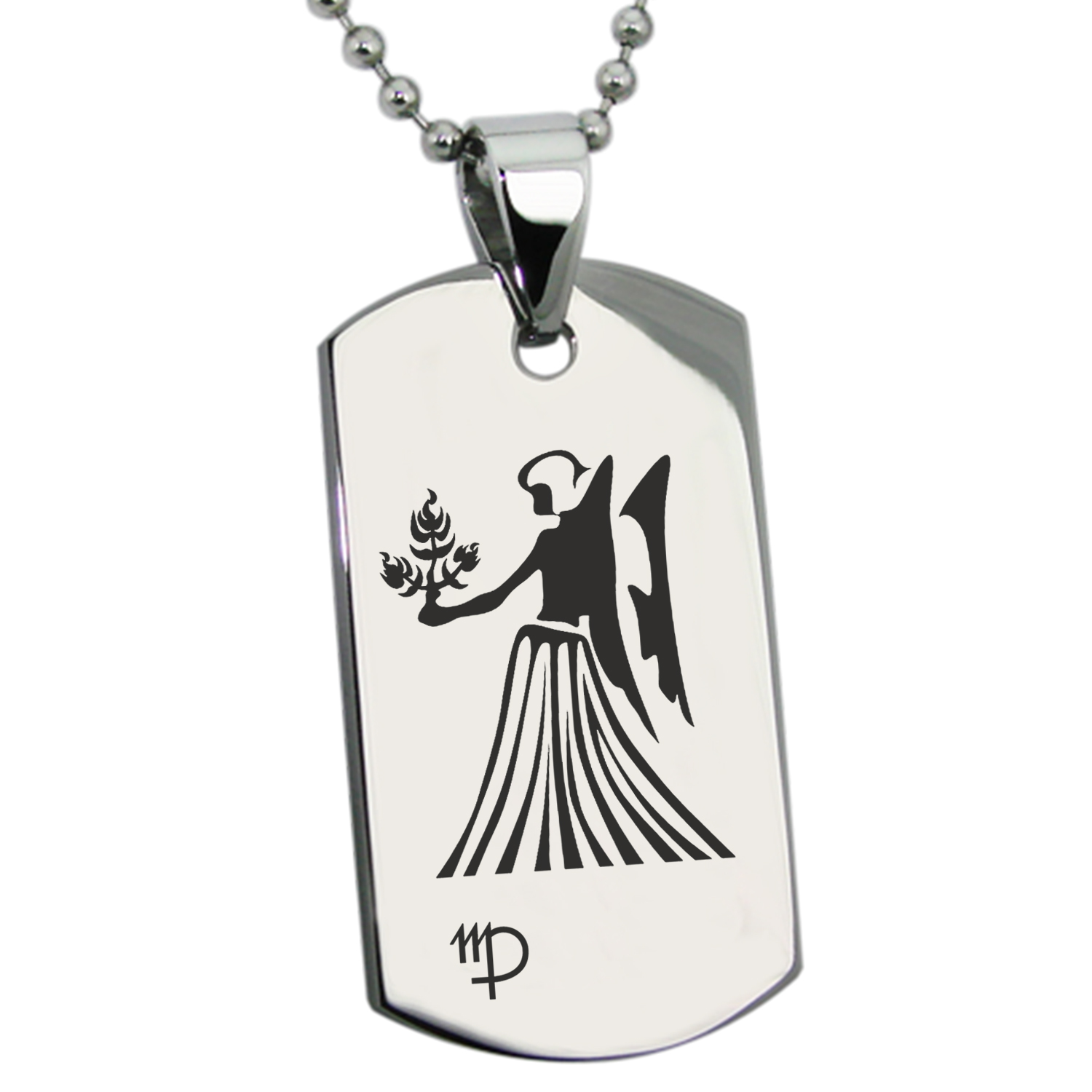 Stainless Steel Virgo Astrology Zodiac Sign Engraved Dog Tag Pendant