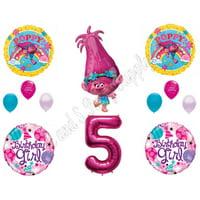 POPPY TROLLS 5th Birthday Girl Happy Party Balloons Decoration Supplies Movie