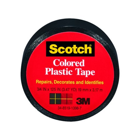 3M COMPANY 190BLK 3/4x125 Black Plastic Tape