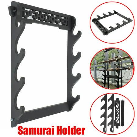 4 Tier Wall Mount Samurai Sword Katana Holder Stand Hanger Bracket Rack Display