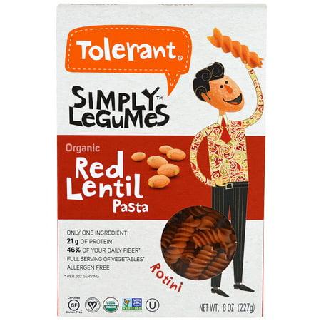 Mild Indian Lentil - Tolerant, Simply Legumes, Organic Red Lentil Pasta, Rotini, 8 oz(pack of 1)