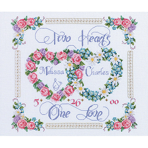 """Janlynn Two Hearts, One Love Counted Cross Stitch Kit, 14"""" x 12"""", 14 Count"""