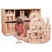 Maple Finish Architectural Building Blocks Set (Half School Set)