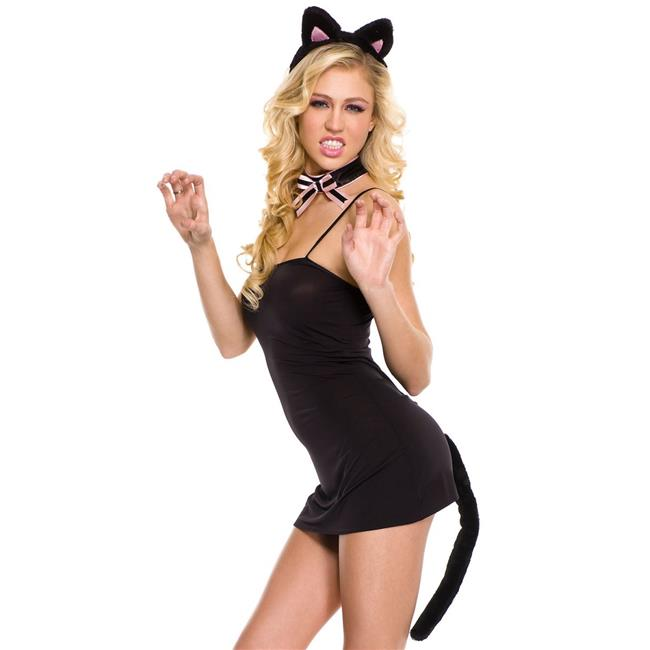 70444-BLACK-PINK Cat Ears Headband, Bow Tie & Plush Tail Accessories Kit - Black & Pink