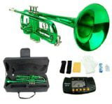 Merano B Flat GREEN   Silver Trumpet with Case+Mouth Piece+Valve Oil+Metro Tuner by