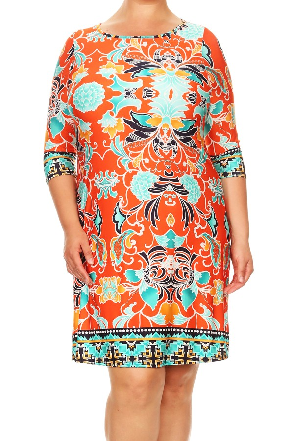 Plus Size Women's Trendy Style 3/4 Sleeves Printed Dress