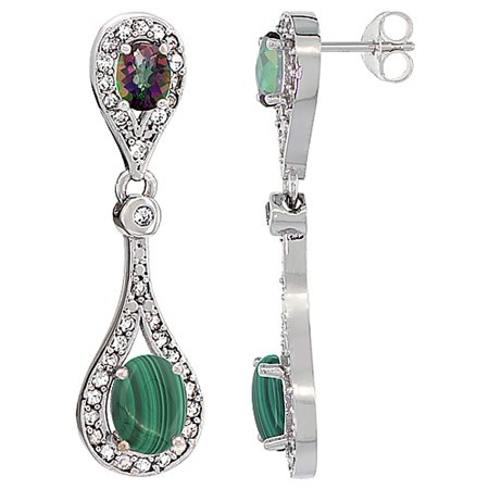 Malachite White Earrings (14K White Gold Natural Malachite & Mystic Topaz Oval Dangling Earrings White Sapphire & Diamond Accents, 1 3/8 inches long)