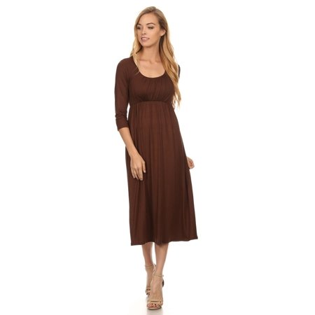 Women's 3/4 Sleeves Solid Midi Dress ()